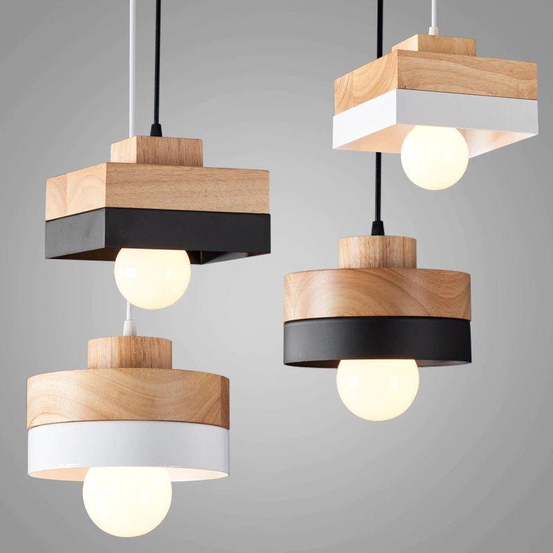 180mm X 120mm bois de fer pendentif lampe noir blanc en bois suspendus lumière avec ampoule salon éclairage à la maison café boutique décoration