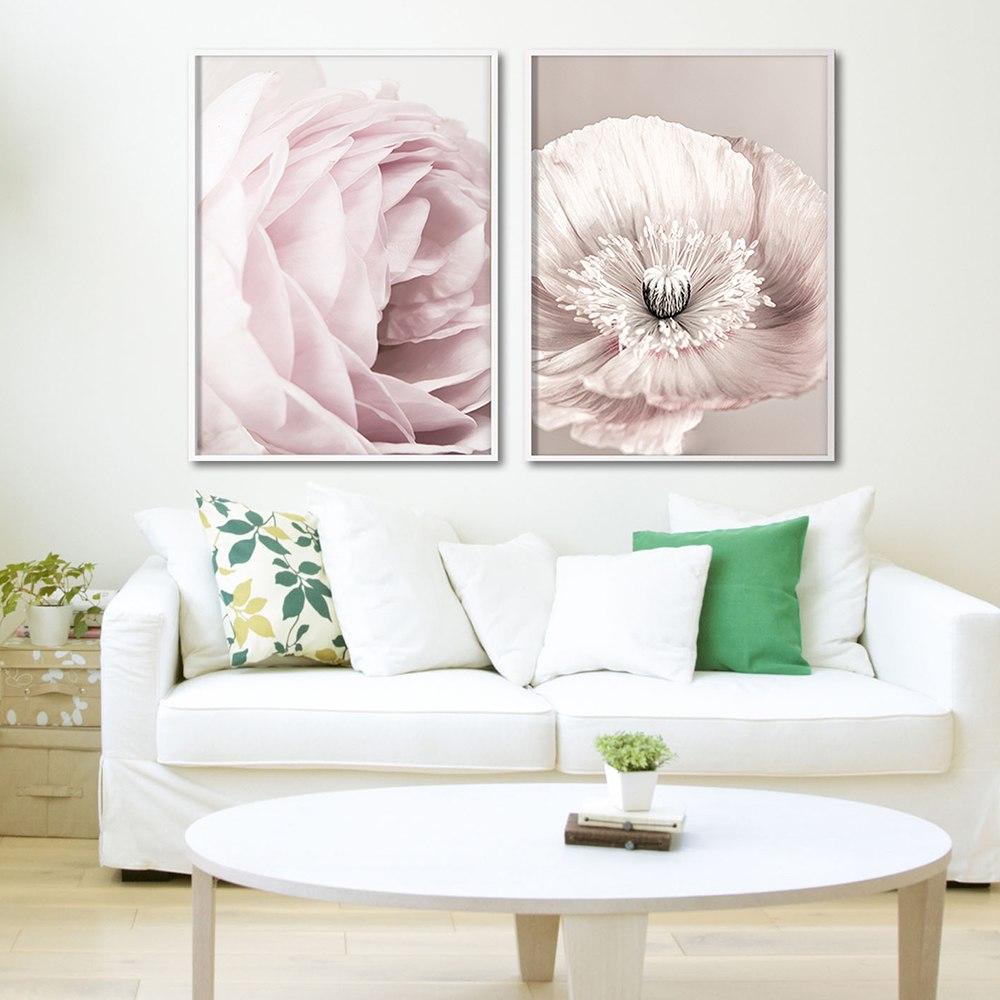 Rose Blush Pivoine Affiche Nordique Toile Peinture Mur art Affiches et Gravures Fleurs Photos Pour Salon Maison Scandinave 4