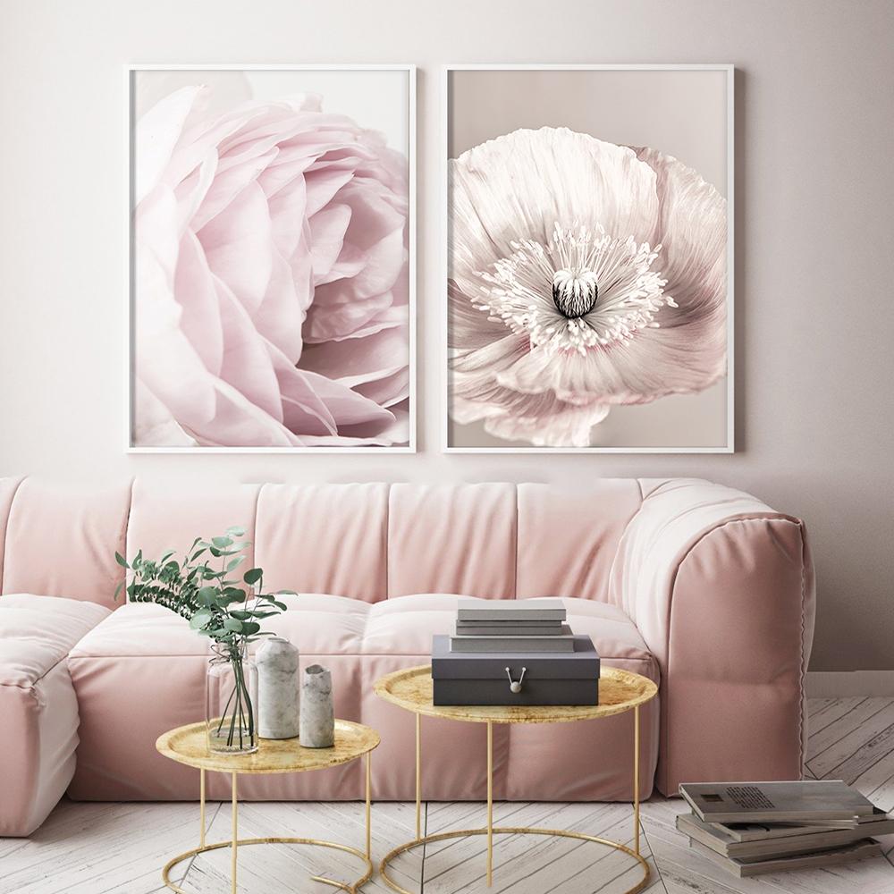 Rose Blush Pivoine Affiche Nordique Toile Peinture Mur art Affiches et Gravures Fleurs Photos Pour Salon Maison Scandinave