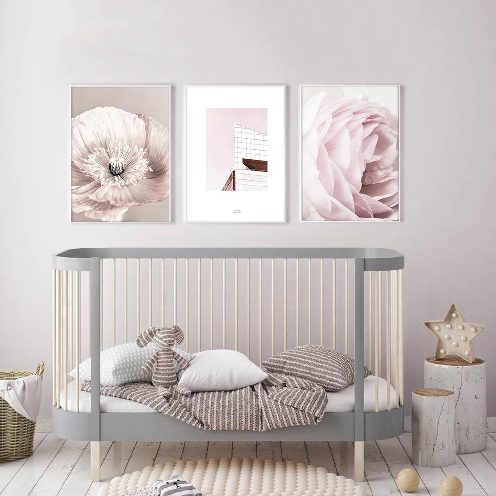 Rose Blush Pivoine Affiche Nordique Toile Peinture Mur art Affiches et Gravures Fleurs Photos Pour Salon Maison Scandinave 5