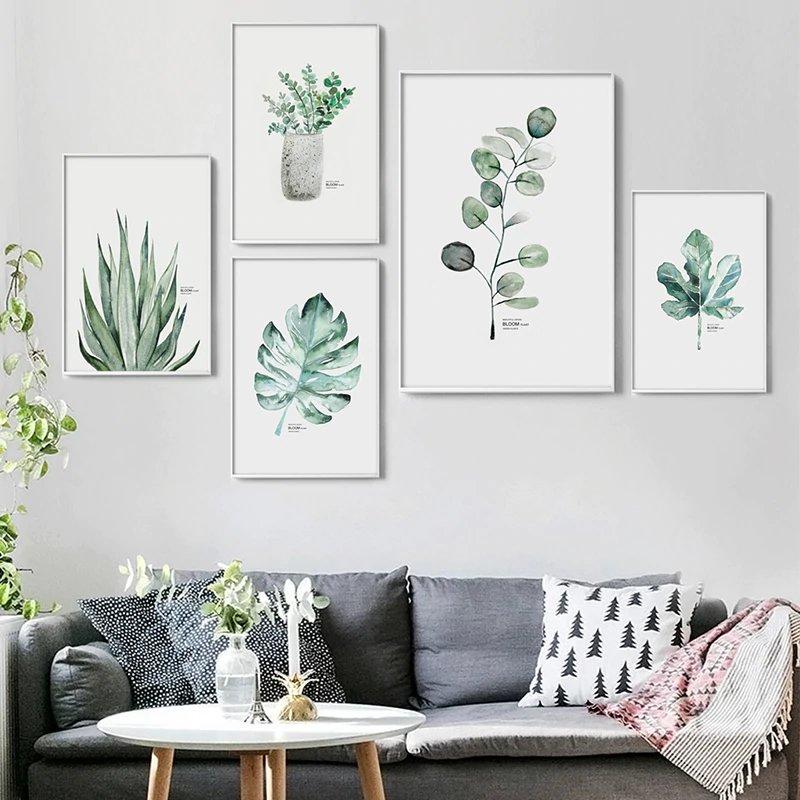 Affiche plante verte aquarelle