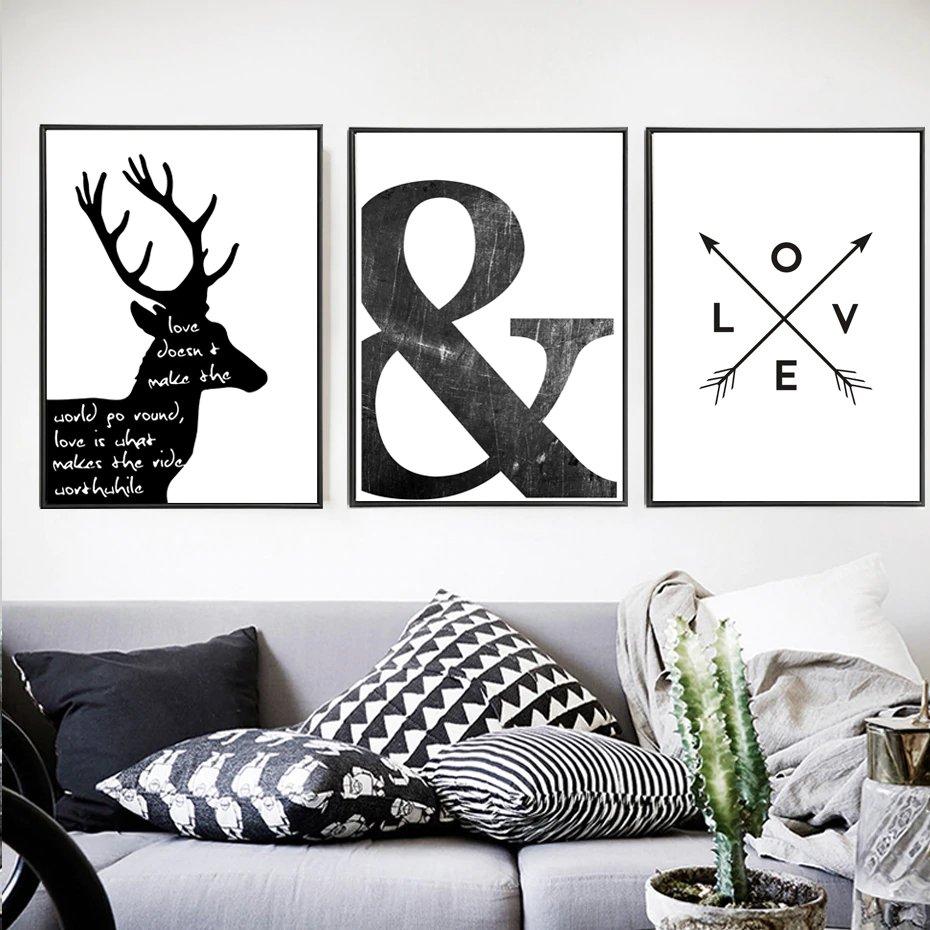 Affiche scandinave minimaliste noir et blanc