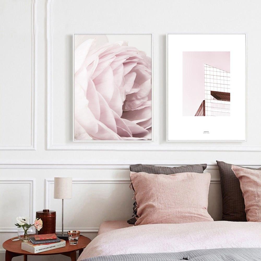 Rose Blush Pivoine Affiche Nordique Toile Peinture Mur art Affiches et Gravures Fleurs Photos Pour Salon Maison Scandinave 2