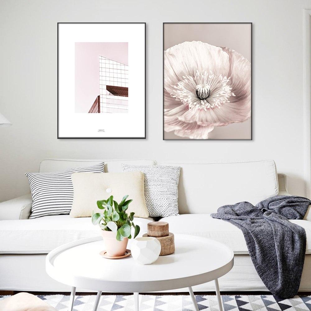 Rose Blush Pivoine Affiche Nordique Toile Peinture Mur art Affiches et Gravures Fleurs Photos Pour Salon Maison Scandinave 3
