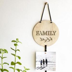 Objet déco nordique photo family en bois
